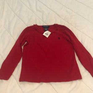 Girls red Ralph Lauren long sleeve shirt